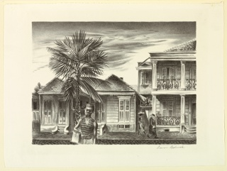 View of a street, with two small houses, left, and a mansion with a two-story portico, right. On the right, two figures walk on the sidewalk on the far side of the street. In the foreground, a shoeshine boy faces the spectator.