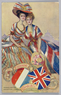 Horizontal rectangle. Valentine's series, official postcards of the Franco-British Exhibition depicting unity between the two nations.