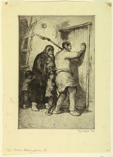 vertical rectangle - an Indian couple and their three children are seen about to enter an adobe house - the father pushes open the door.