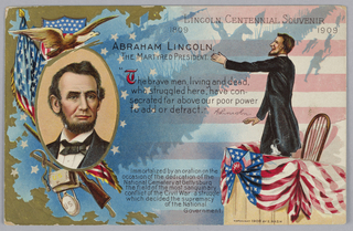 Greeting Card, Abraham Lincoln, The Martyred President (Lincoln Centennial Souvenir), 1909