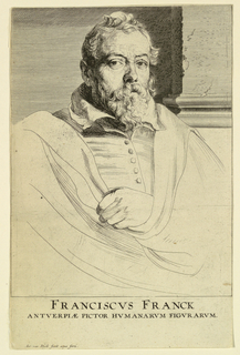 "Portrait of a man, his head turned slightly to the right, looking out at the spectator. His left hand appears from behind the folds of his cloak. Inscription below: FRANCISCUS FRANCK ANTWERPIAE PICTOR..."" At lower left: ""Ant. van Dyck fecit aqua forti."""