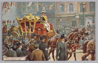 Horizontal rectangle. Tuck's postcards of famous personages on horseback and in a carriage.