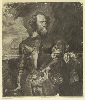 Half-length figure of Thomas Howard, Earl of Arundel (c. 1562-1639), in armor, standing before a landscape, holding his baton in his right hand, at his side. Engraver's name cut off at bottom.
