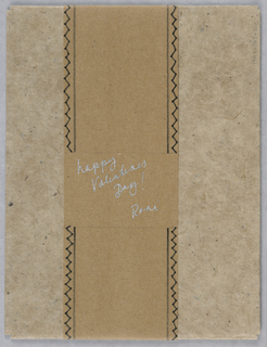 (a) card with two leaves, (b) collophon sheet - brown paper, (c) envelope