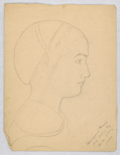 "Vertical rectangle. Bust portrait, the sitter seen in right profile. Inscribed, lower right (in pencil): ""Georgiana Davis / from life by Martha S. Day 1860."""