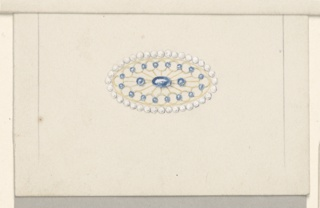 Horizontal rectangles. Bordering lines as 1939-84-20.  Broad ovoid with filgree, with blue stones; bordered by small pearls.