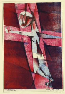 Abstract composition with a figure on the cross as a central motif.