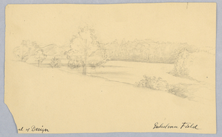 "Horizontal rectangle. The river is seen at a narrow point (probably in the neighborhood of Glens Falls, N.Y.), bordered by large trees. Inscribed (in ink) in hte hand of Alice Donlevy: ""[scho]ol of Design - Gueglielma Field."" Dated on verso by her, 1851."