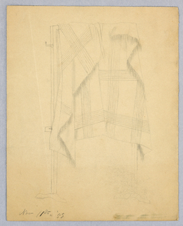"Vertical rectangle. An easel draped with a fringed plaid cloth. Inscribed, lower left,: ""Nov. 11th '59 (in pencil). """