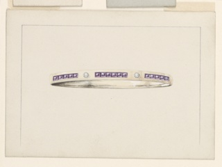 Horizontal rectangles. Bordering lines as 1939-84-20. Rowe of lilac gems alternate with a diamond, on a band.