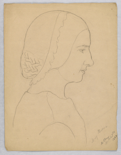 "Vertical rectangle. The sitter, head only, is seen in right profile. Inscribed, lower right (in pencil): ""Mary Kidder / M. S. Day/ March 7th/ 1860."""