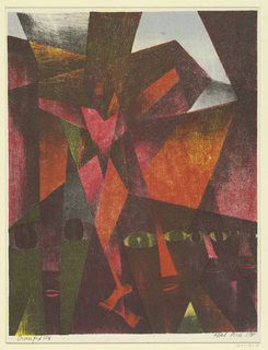 An abstract composition, with a figure on the cross in the background. Several heads of figures in the foreground, looking out toward the spectator.