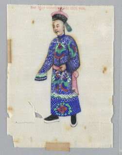 Vertical rectangle.  Male court official in blue embroidered cloak and hat.