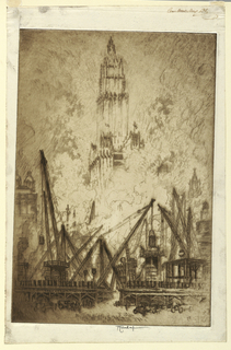 Construction work in the foreground, seen in deep shadow. The Woolworth Building, partially hidden in smoke, rises in the background.