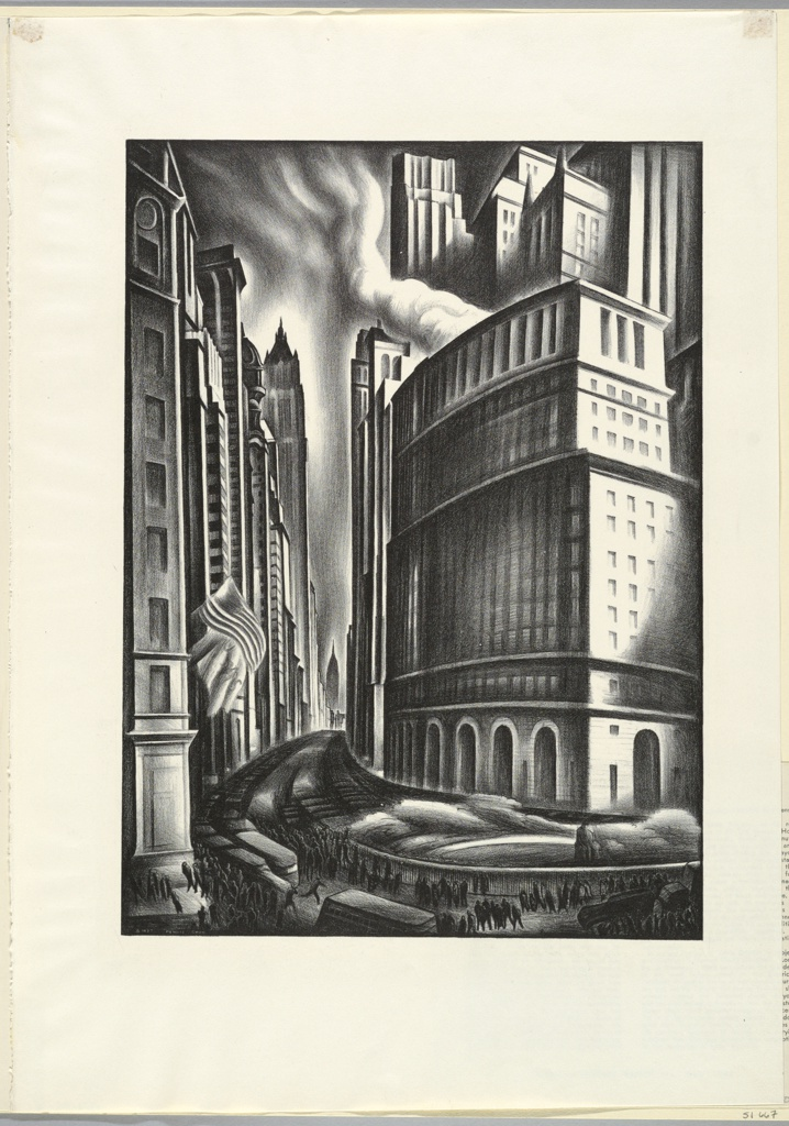 Print, Looking Up Broadway