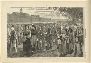 Print, New England Factory life--bell-time, Harper's Weekly, July 1868