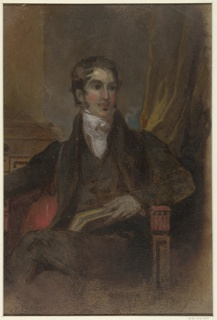 Three-quarter length portrait of a male figure, seated in an armchair, facing the spectator. A book is held in his left hand, a finger in the volume, marking a place.