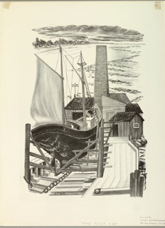 A sailboat in drydock. In the center distance, a beacon on a jutting strip of land.