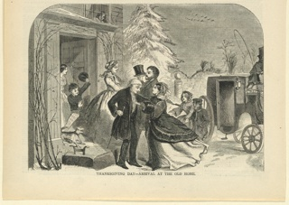 Print, Thanksgiving Day arrival at the old home, Harper's Weekly, November 1858