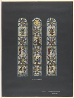 """Drawing, 3 Studies for stained glass window: """"Benedictus"""""""