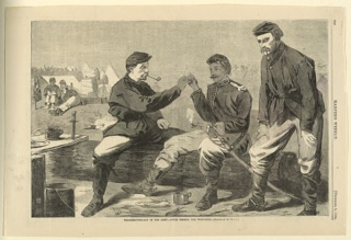 Print, Thanksgiving Day in the army; after dinner the wishbone, Harper's Weekly, December 1864