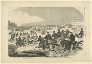 Print, The union cavalry and artillery starting in pursuit of the Rebels up the Yorktown Turnpike, Harper's Weekly, May 1862