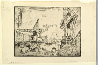 Port scene with large cranes. Railroad freight cars at left, and stacks beyond.