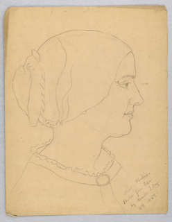"Vertical rectangle. The sitter is seen in right profile; outline only. Inscribed, lower right (in pencil): ""Miss Phillips / Sketch from life/ by Martha S. Day / N. Y. 1859."" Inscription (erased), lower left. Verso: blotter of another sketch of a head."