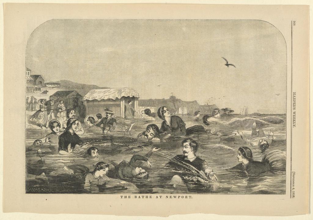 Print, The bathe at Newport, Harper's Weekly, September 1858
