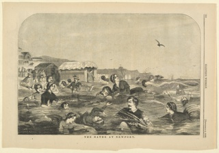 Print, The bathe at Newport, Harper's Weekly, September 1858