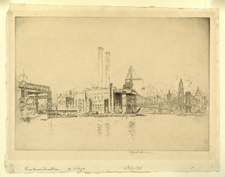 View across the East River toward a large power plant, with derricks behind it. In the distance, Manhattan Bridge and the skyscrapers of New York.