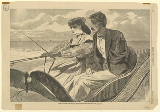 Horizontal view of a wicker trap containing a woman and man with military cap of the Northern United States at the time of the Civil War; his left coat is empty and pinned under his lapel.  Beach is visible in the distance, and the ocean beyond.