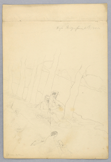 "Vertical rectangle. The two teachers are seen seated under trees. Women are seen sketching in the foreground. Inscribed, upper right (in pencil): ""High Bridge, June 29th 1860,"" and lower left: ""from nature."" Indentification of personages on verso."