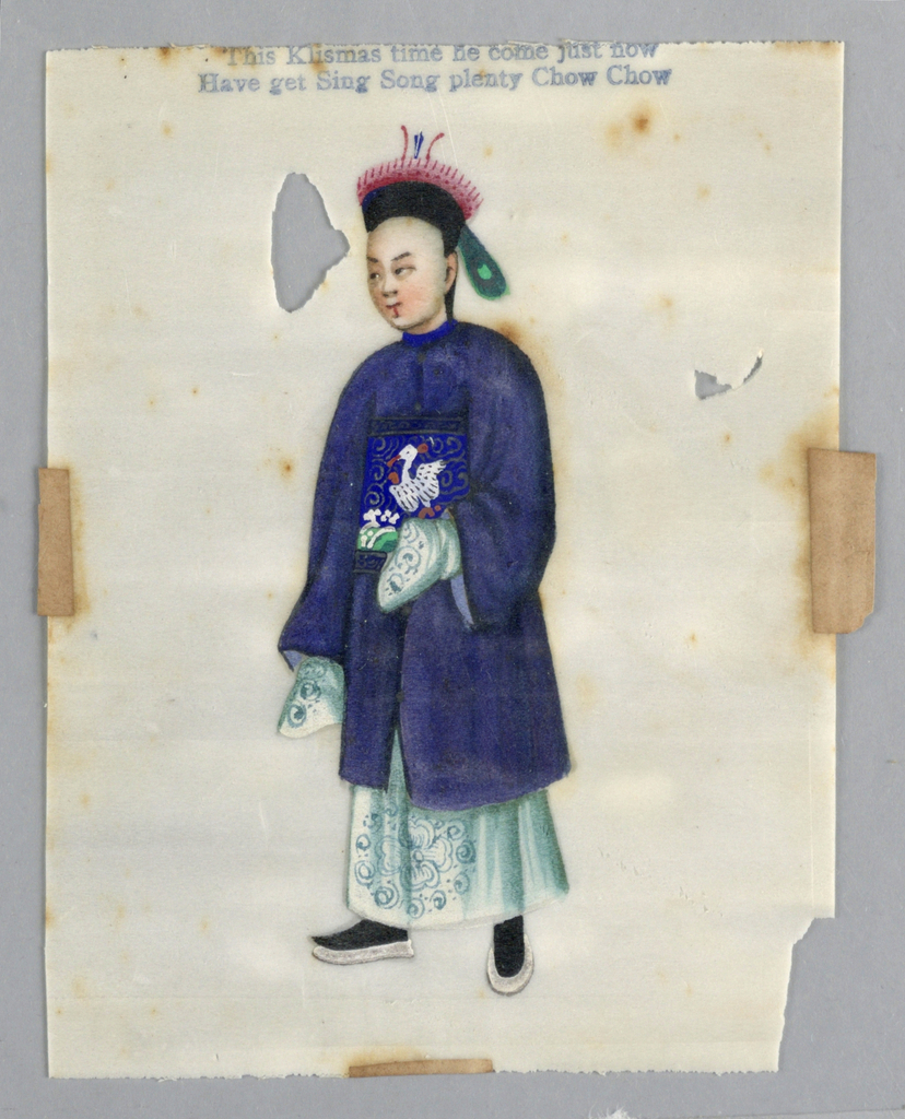 Vertical rectangle.  Male court official in white gown, and partially embroidered blue cloak and hat.