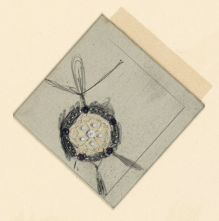 Vertical rectangle. A circular medallion with filigree, pearls, and a diamond is transformed in a sketchy way into a pendant with three drops. Bordering lines, at right.