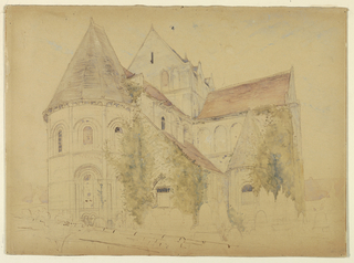 View of the church of St. Nicholas at Caen. Verso: drawing of a campanile (bell tower).