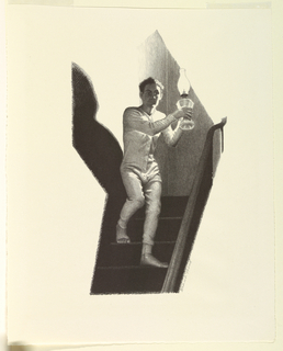 A man in long underwear, holding an oil lamp, descends a staircase.