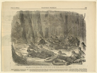 Print, The army of the Potomac, our outlying picket in the woods, Harper's Weekly, June 1862