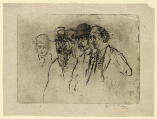Vignette. Bust-length figures. Group of four, right, facing left in profile. Fifth figure, at left, facing frontally.