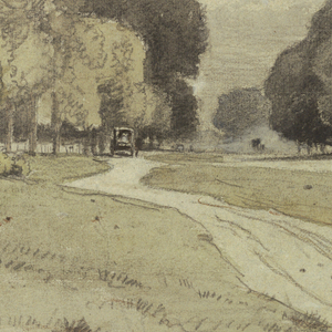 Horizontal view of a road leading backwards, flanked by rows of trees. Houses and a carriage are shown at left, with a rider standing under a tree, in the right middle distance.