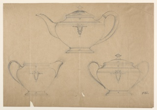 """Each shows the teapot with the handle at right, on top, the cream pot with the handle at left, bottom left, the two-handled and covered sugar bowl, bottom right. The handles of the cream pots and augar bowls are forked on top. Reverse: blackened for tracing. More richly decorated ,·with mouldings and yegetable motif. """"42"""" aaA."""