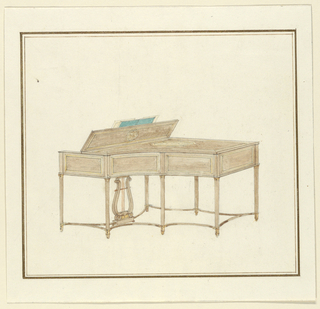 Perspective view toward incurving side of piano. Seven slender legs, round and slightly tapering, joined by incurving stretchers: lyre-shaped support for pedals. Sides of case panelled.
