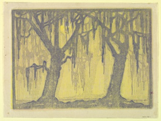 Woodblock print, printed in colors.  Design of trees and spanish moss.