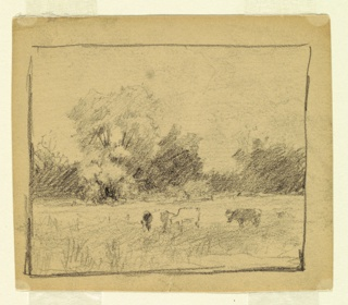 Four cattle are grazing in the foreground. Bushes and trees form the background. Framing lines.