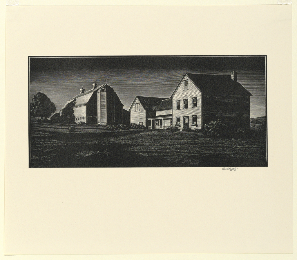 A New England farm is seen in the late afternoon light, with heavy shadows. The barn stands in the left middle distance.
