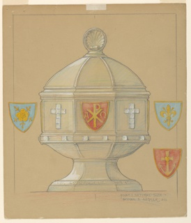 In the shape of a baptismal font with a cover; a shell is on top. Diamonds form crosses which alternate with shields in the panels of the parapet. The shields represent: A[p with descender bisecting an X; Greek letter omega]; a rose, a fleur-de-lys; [an anchor with a heart]. Those not visible in the decoration are shown beside it. More diamonds at the molding. Verso: incised corner ornament. [See accession ledger for illustrations.]