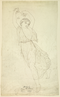 Possibly Flora or Spring.  A running female figure in drapery, shown directed toward left with arms raised over head, holding flowers in each hand. At left, a part of a pencil sketch, with a reclining couple and two standing female figures. Verso: Horiztonal composition with two figures, possibly dancers, turned toward left, not entirely shown.