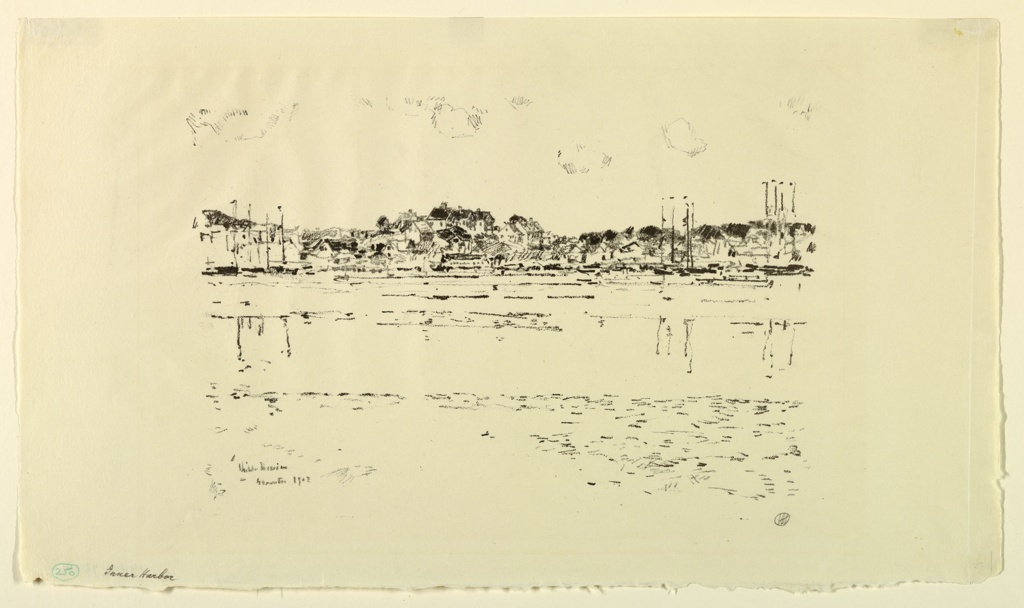 Scene looking across a body of water with sailboats and houses along the far shore. Probably Gloucester, Massachusetts.
