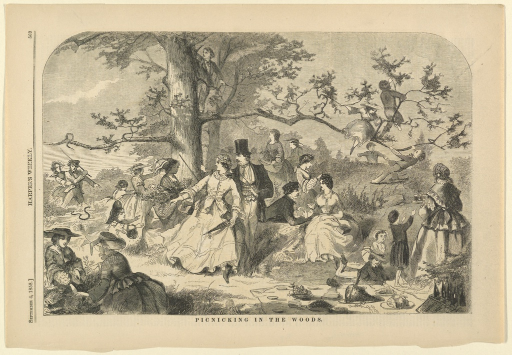 Print, Picnicking in the woods, Harper's Weekly, September 1858