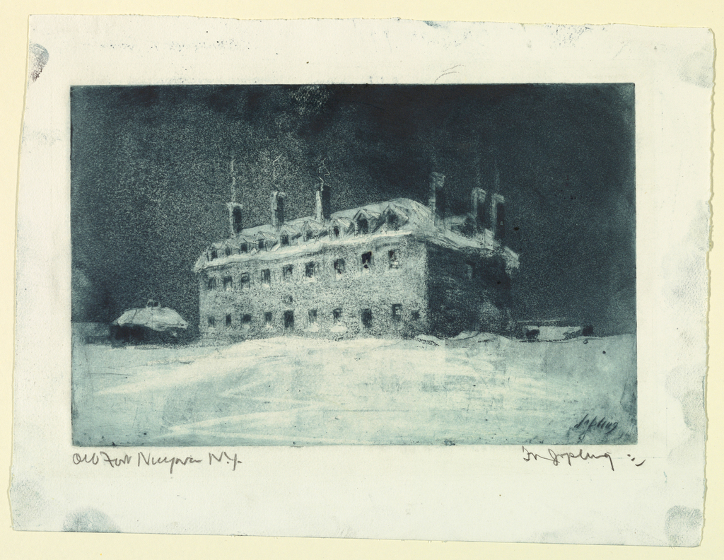 Horizontal rectangle.  A large building with numerous dormer windows and chimney, seen in the snow.  Title in margin, in pencil, lower left.